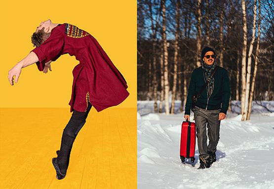 aaed370a Sammansatt bild på en man som dansar och en man som promenerar med en  resväska